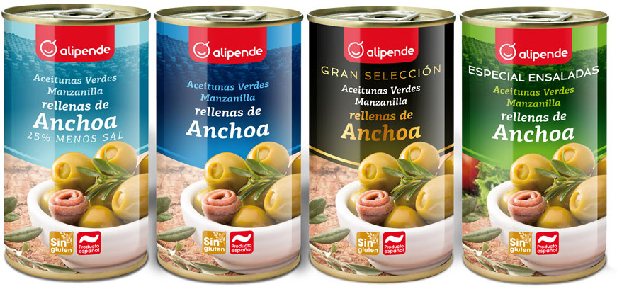 Diseño de packaging colección aceitunas Alipende
