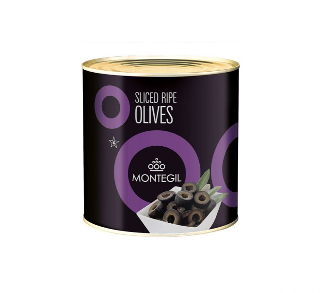 Lata sliced ripe olives Montegil