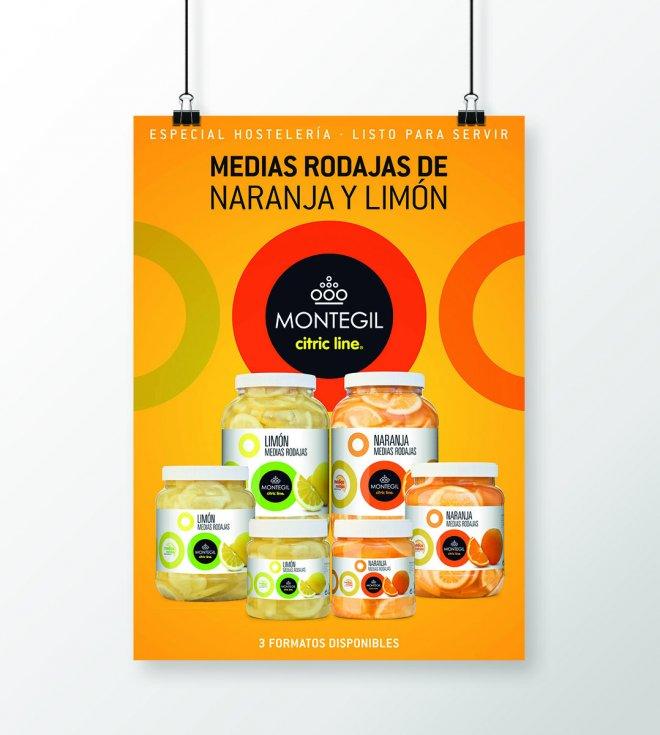 Cartelería medias rodajas naranja y limón Montegil