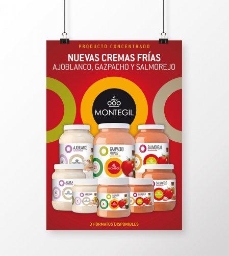 Poster presentación gama cremas frías Montegil