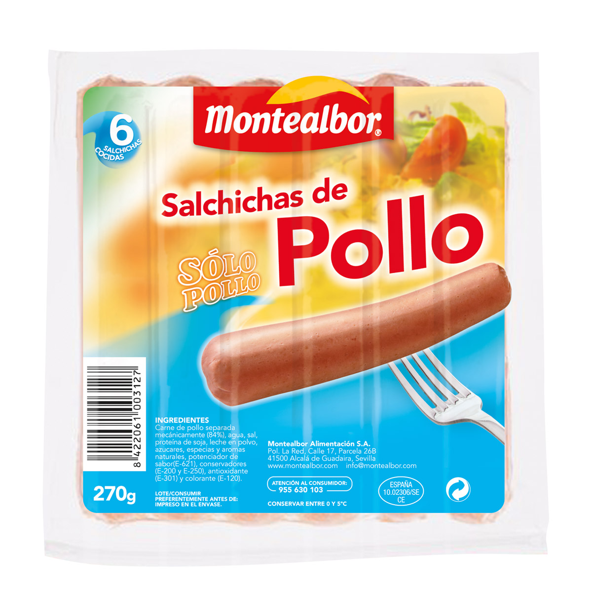 Packaging Salchichas de Pollo Montealbor
