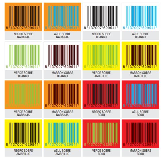 Colores legibles códigos de barras