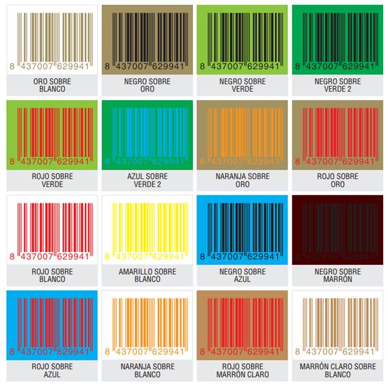 Colores no legibles códigos de barras