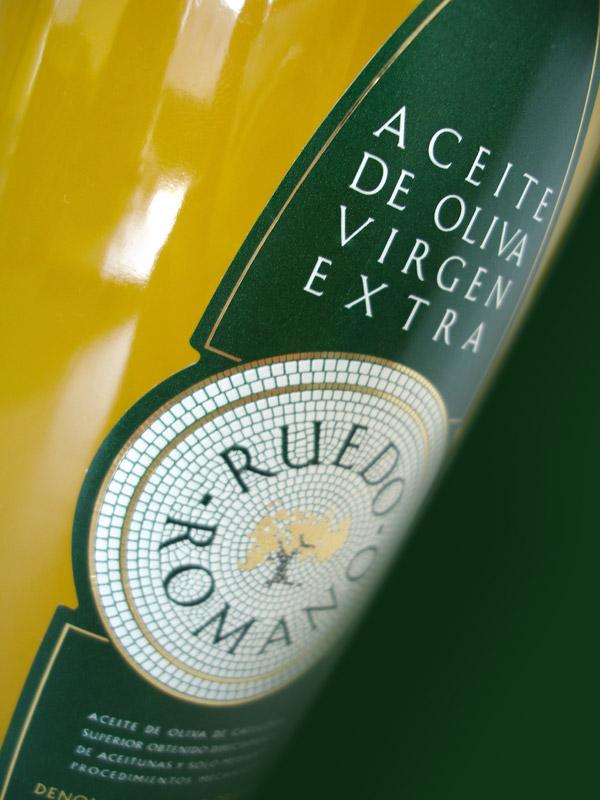 Etiqueta aceite de oliva virgen extra Ruedo Romano selección gourmet