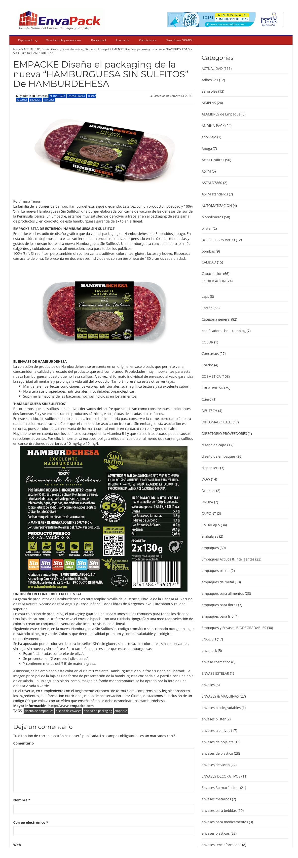 diseño de packaging para Hamburdehesa